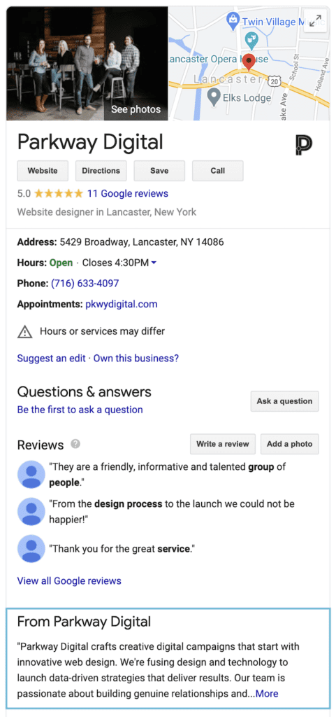 Parkway Digital's Google My Business listing in the organic search results