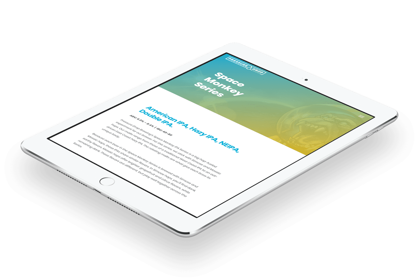 Pressure Drop Brewing optimized website content preview on tablet